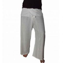 Pantalon Thaï Rayonne Blanc