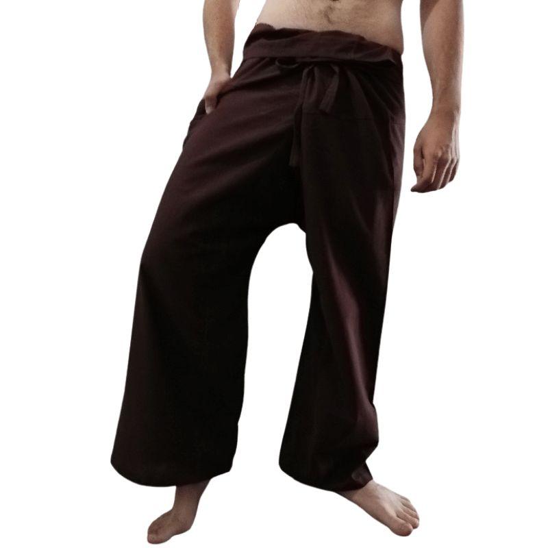 Pantalones Tailandeses Algodon Fino Moreno