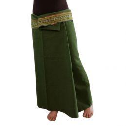 Plain Long wrap Thaï Skirt - Khaki