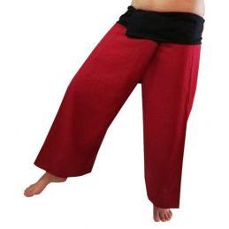 Pantalones Thai Burdeos y Negro