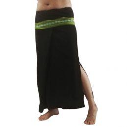 Plain Long wrap Thaï Skirt - Black